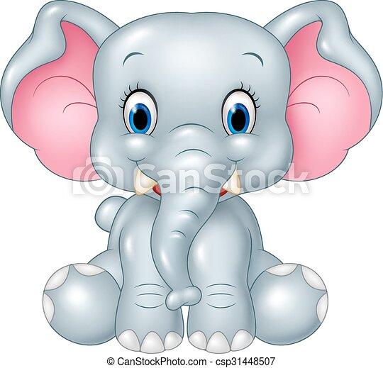 Vector Illustration Of Cartoon Funny Baby Elephant Sitting
