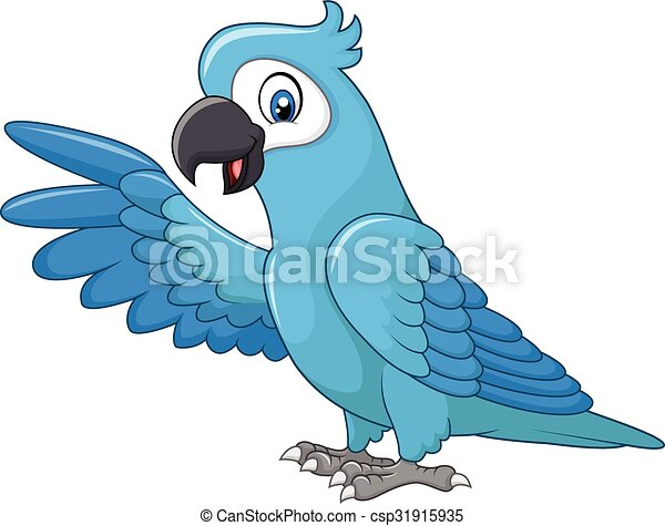 Cartoon funny blue macaw presenting - csp31915935