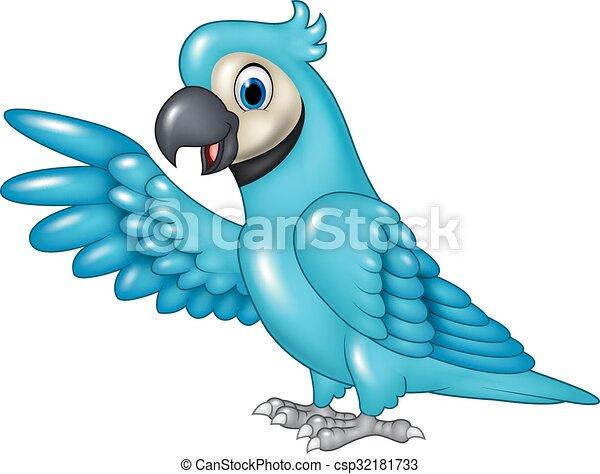 Cartoon funny blue macaw presenting - csp32181733