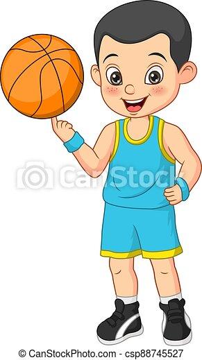Cartoon funny boy basketball player - csp88745527