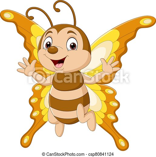 Cartoon funny butterfly isolated on white background - csp80841124