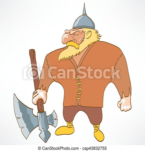 Cartoon Funny Character Viking Vector Illustration