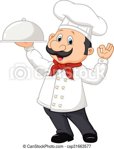 Cartoon funny chef with a moustache - csp31663577