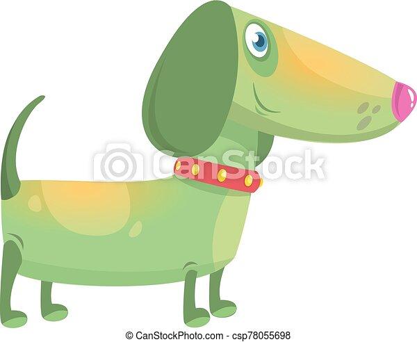 Cartoon Funny Dachshund Dog. Vector Illustration . - csp78055698