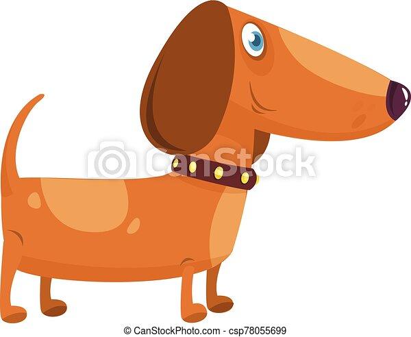 Cartoon Funny Dachshund Dog. Vector Illustration . - csp78055699