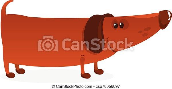 Cartoon Funny Dachshund Dog. Vector Illustration . - csp78056097