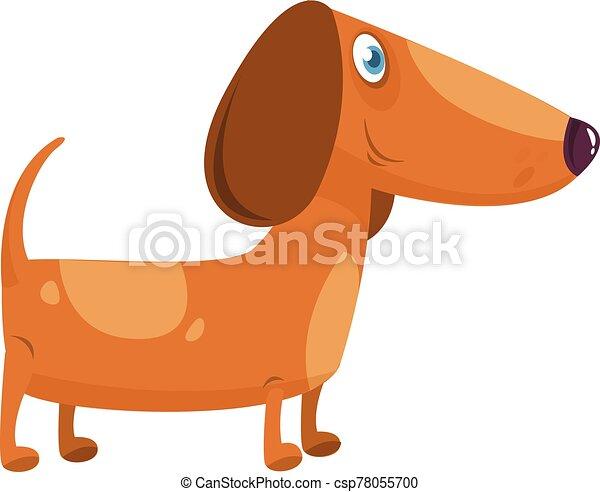 Cartoon Funny Dachshund Dog. Vector Illustration . - csp78055700