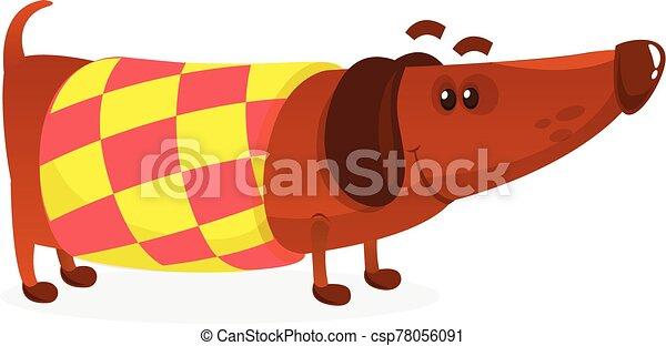 Cartoon Funny Dachshund Dog Wearing A Sweater. Vector Illustration . - csp78056091