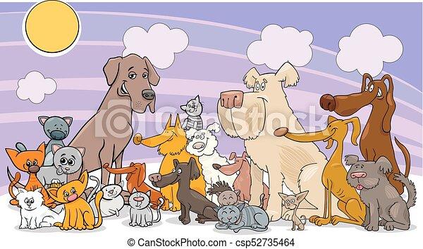 cartoon funny dog and cats group - csp52735464