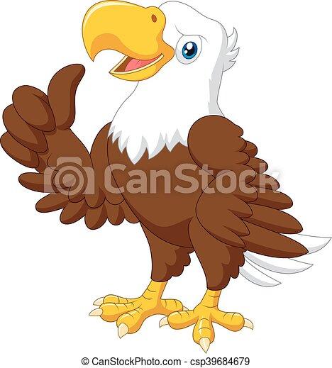 Cartoon funny eagle giving thumb up - csp39684679