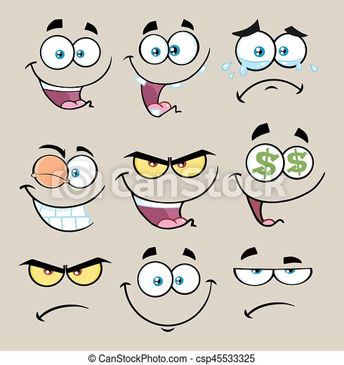 Cartoon Funny Face With Expression Set 1. Collection - csp45533325