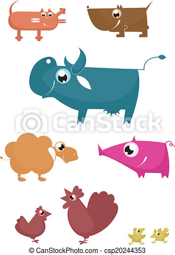 Cartoon funny farm animals - csp20244353