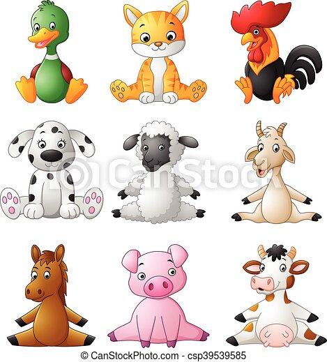 Cartoon funny farm animals - csp39539585