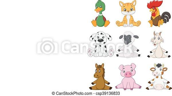 Cartoon funny farm animals - csp39136833