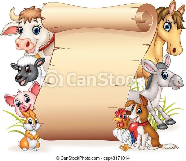 Vector illustration of cartoon funny farm animals with ...