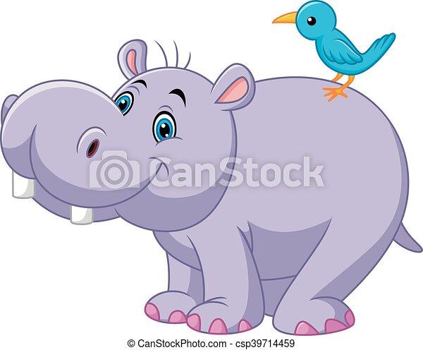 Cartoon funny hippo with bird - csp39714459