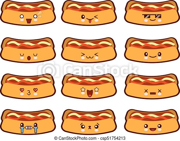 Cartoon funny hot-dog characters kawaii set isolated on white background. Cartoon emoticon face of fast food. Flat design Vector Illustration - csp51754213