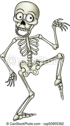 Vector illustration of cartoon funny human skeleton dancing.