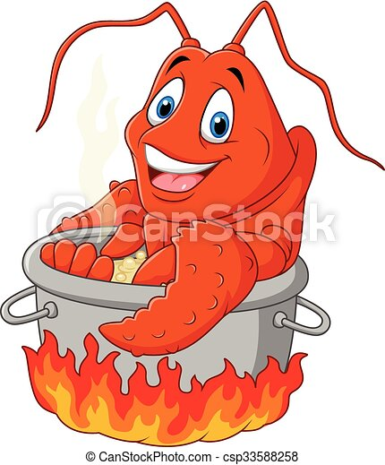 Vector illustration of cartoon funny lobster being cooked in... clipart vector - Search ...