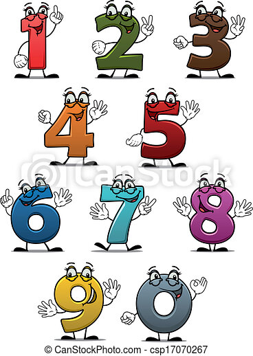 Cartoon funny numbers and digits - csp17070267