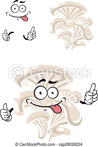 Cartoon funny oyster mushroom character - csp28026224