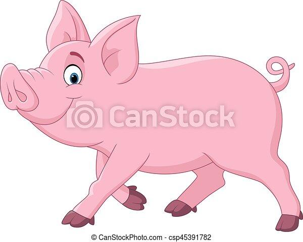 Cartoon funny pig - csp45391782