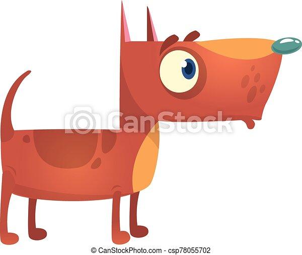 Cartoon funny pitbull dog. Vector illustration. - csp78055702