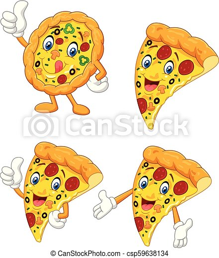 Cartoon funny pizza collection set - csp59638134
