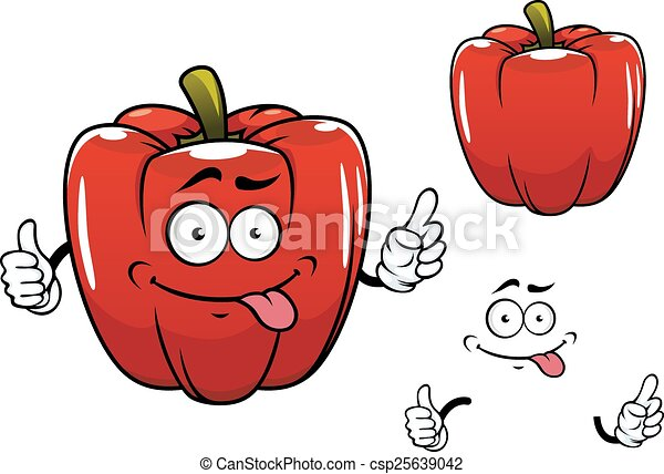 Cartoon funny red bell pepper vegetable character - csp25639042
