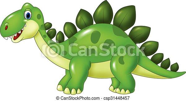 Cartoon funny Stegosaurus mascot  - csp31448457