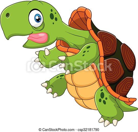 Cartoon funny turtle running - csp32181790