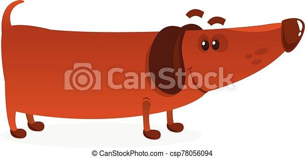 Cartoon Funny Weiner Dog. Vector Illustration . - csp78056094