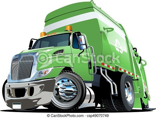 Cartoon Garbage Truck - csp49070749