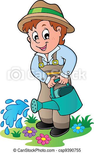 Cartoon gardener with watering can - csp9390755