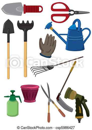 cartoon gardening icon  - csp5986427