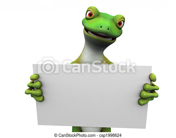 Cartoon gecko with sign. - csp1998624