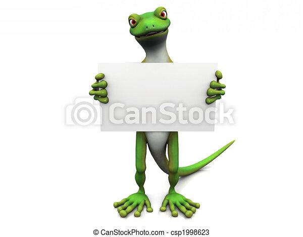 Cartoon gecko with sign. - csp1998623