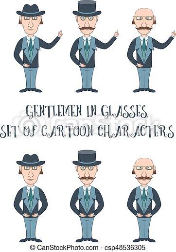 Cartoon Gentleman Set Strict Slender Gentleman In Glasses Hat