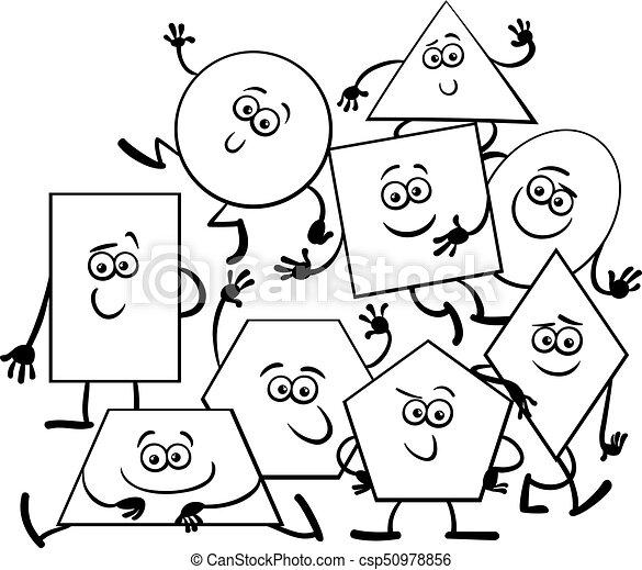 Cartoon geometric shapes coloring book. Black and white cartoon ...