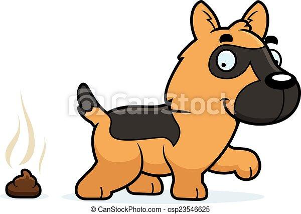 Cartoon German Shepherd Poop - csp23546625