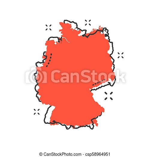Cartoon Map Of Germany.Cartoon Germany Map Icon In Comic Style Germany Illustration