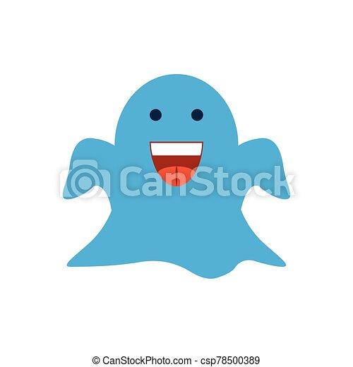 cartoon ghost, flat style icon - csp78500389