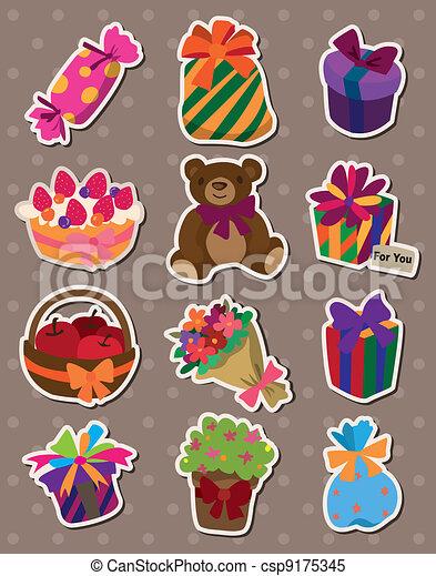 cartoon gift stickers - csp9175345