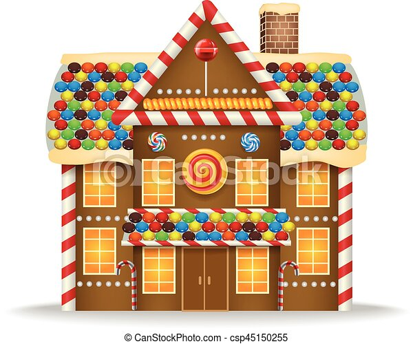 vector illustration of cartoon gingerbread house rh canstockphoto com Simple Gingerbread House Cartoon milk carton gingerbread houses