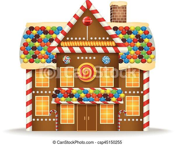 vector illustration of cartoon gingerbread house clipart vector rh canstockphoto ca gingerbread house cartoon hansel and gretel gingerbread house cartoon