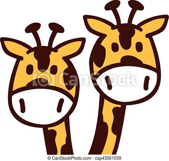 cartoon giraffe heads