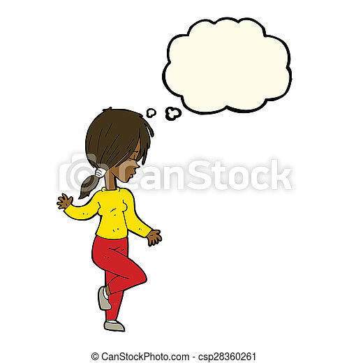 cartoon girl dancing with thought bubble - csp28360261