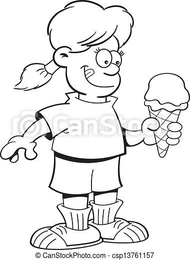 Cartoon Girl Eating An Ice Cream Co Vector