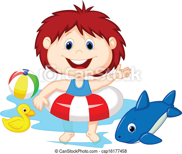 Cartoon Girl floating with inflatab - csp16177458