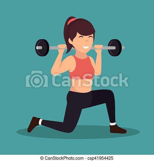 cartoon girl holding weight gym vector illustration eps 10 Diving Clip Art Weightlifter Clip Art